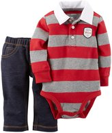 Carter's 2 Piece Striped Bodysuit Set (Baby) - Red/Gray-24 Months