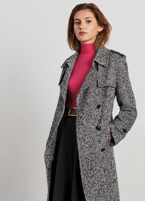 St. John Double Breasted Herringbone Trench Coat