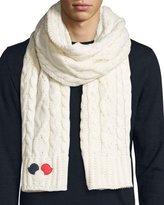 Moncler Men's Cable-Knit Wool/Cashmere-Blend Scarf w/Dots