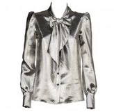 Saint Laurent Metallic Pussybow Blouse