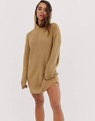 Asos Design DESIGN knitted mini dress with hood