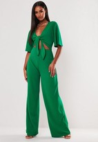 Missguided Green Kimono Sleeve Cut Out Romper