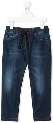 Dolce & Gabbana Kids Drawstring Waist Straight Jeans