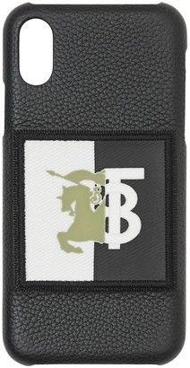 Burberry Contrast Logo Graphic Leather iPhone X/XS Case