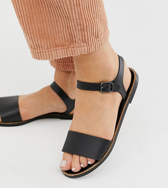 Depp wide fit leather two part flat sandal in black