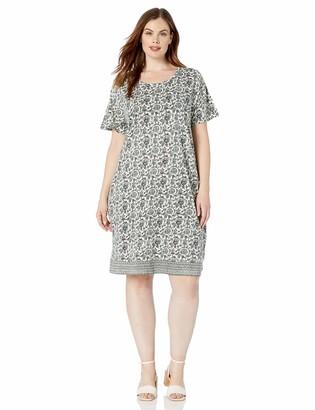 Lucky Brand Women's Plus Size Woodblock Print T-Shirt Dress