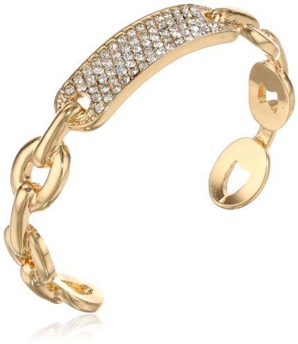 """Kenneth Cole New York """"Bracelet Item"""" Gold Pave Identification Cuff Bracelet, 6"""""""