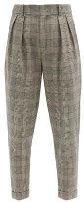 Isabel Marant Oceyo Pleated Prince Of Wales-check Twill Trousers - Grey