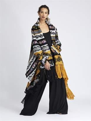 Oscar de la Renta Floral Chine Silk-Jacquard Coat