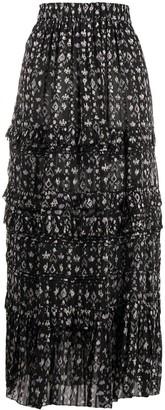 Etoile Isabel Marant Abstract-Print Flared Skirt