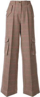 Bouguessa check print cargo trousers