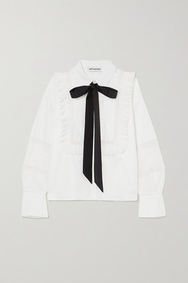 Self-Portrait Bow-detailed Lace-trimmed Ruffled Cotton-poplin Shirt - White