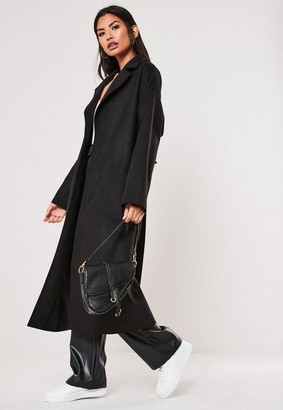 Missguided Black Patch Pocket Maxi Belted Coat