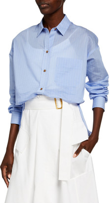 Vince Fine Stripe Boxy Long-Sleeve Button-Down Shirt