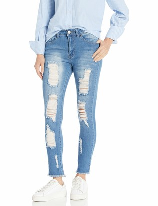 Cover Girl Women's High Waisted Cute Ripped Distressed Fit Skinny Juniors