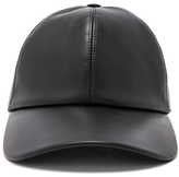 Buscemi Leather Baseball Cap in Black.