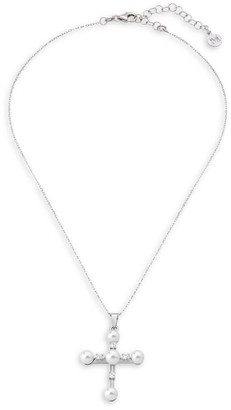 Majorica Sterling Silver & 5-6mm Organic Faux-Pearl Chain Cross Necklace