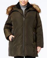 MICHAEL Michael Kors Size Faux-Fur-Trim Layered Down Parka