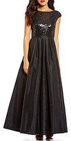Calvin Klein Sequin Taffeta Cap Sleeve Gown