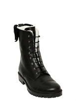 RED Valentino 30mm Calfskin Lace Up Biker Boots