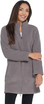 Denim & Co. Petite Textured Fleece Bonded w/ Sherpa Jacket