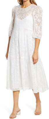 WAYF Babydoll Crinkled Midi Dress