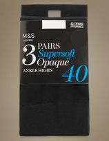 Marks and Spencer 3 Pair Pack 40 Denier Opaque Ankle Highs Super Soft