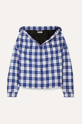 Balenciaga Oversized Checked Quilted Cotton-flannel Shirt - Blue