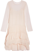 Chloé Tiered Ruffled Silk-mousseline Dress - Blush