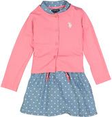 U.S. Polo Assn. Coral Shirt Dress Shrug Set - Infant & Toddler