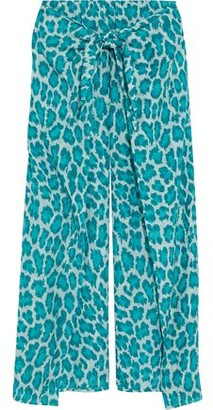 Diane von Furstenberg Tie-front Leopard-print Cotton And Silk-blend Voile Wide-leg Pants