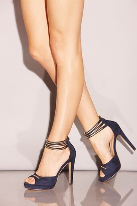 Little Mistress Footwear Navy Double Ankle Strap Peep Toe Heels