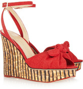 Charlotte Olympia Miranda 110 canvas and bamboo-print silk-twill sandals