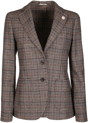 Lardini Brown And Grey Wool Blend Blazer