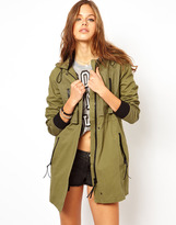 Asos Casual Parka With Leather Look Trims - Green