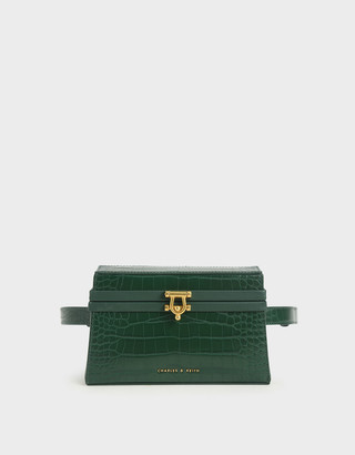 Charles & Keith Croc-Effect Trapeze Belt Bag