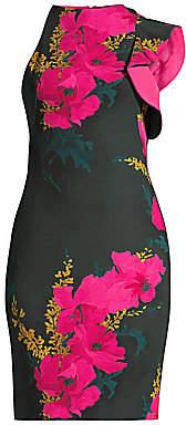 Black Halo Women's Pabla Floral One-Ruffle Sheath Dress - Size 0