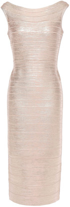 Herve Leger Ardell Open-back Metallic Bandage Dress