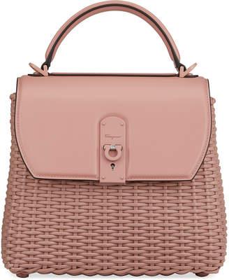 Salvatore Ferragamo Boxyz Woven Top-Handle Bag