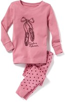 Old Navy 2-Piece Ballet-Shoe-Graphic Sleep Set for Toddler & Baby