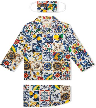 Dolce & Gabbana Kids Majolica-print pyjama set with matching face mask