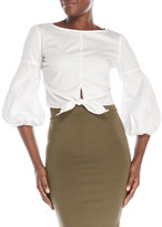 Necessary Objects Tie Front Poplin Top