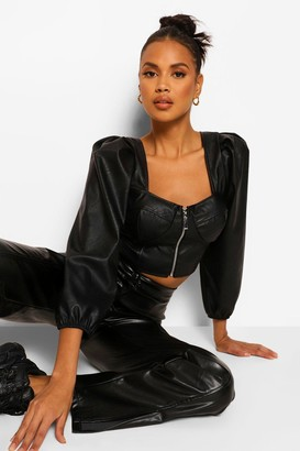 boohoo Cupped Zip Front Leather Look Pu Top