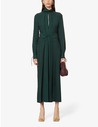 Victoria Beckham Funnel-neck belted pleated crepe midi dress