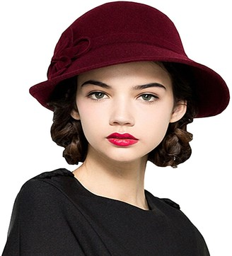 Maitose Women's Wool Felt Flowers Church Bowler Hats Wine Red