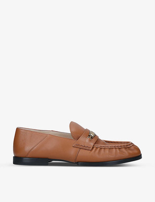 Tod's Gold-tone penny bar leather loafers