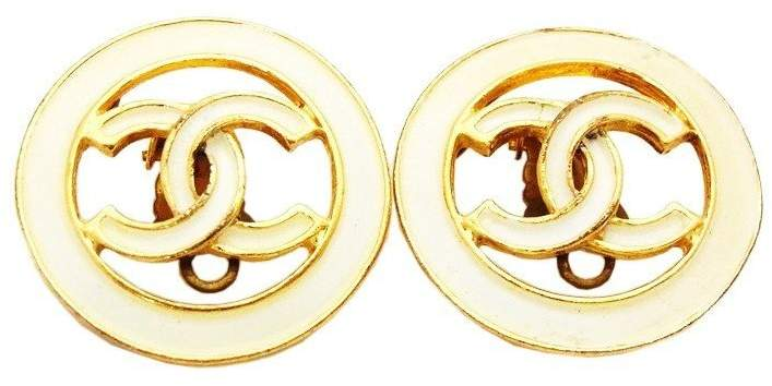 Chanel CC Logo Gold Tone Metal White Painted Round Earrings Earring