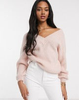 Asos Design DESIGN v neck fluffy oversized sweater