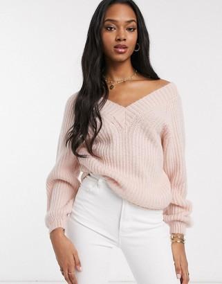 Asos DESIGN v neck fluffy oversized sweater