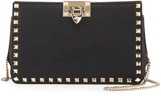 Valentino Rockstud Lux Buffalo Leather Clutch Bag